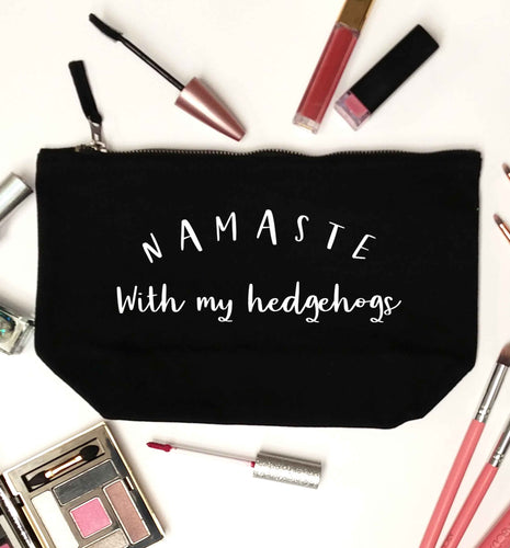 Namaste with my hedgehog black makeup bag