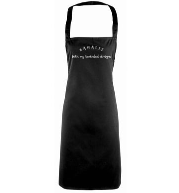 Namaste with my bearded dragon black apron