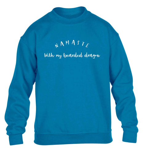 Namaste with my bearded dragon children's blue sweater 12-13 Years