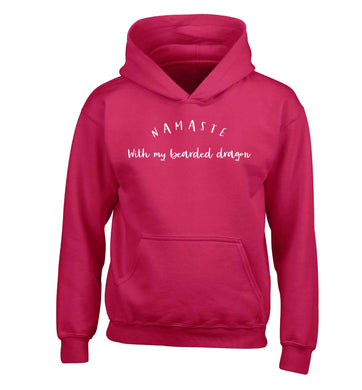 Namaste with my bearded dragon children's pink hoodie 12-13 Years
