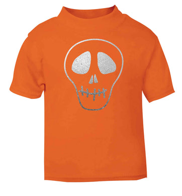 Metallic silver skull orange baby toddler Tshirt 2 Years