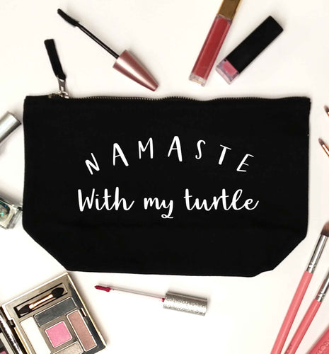 Namaste with my turtle black makeup bag