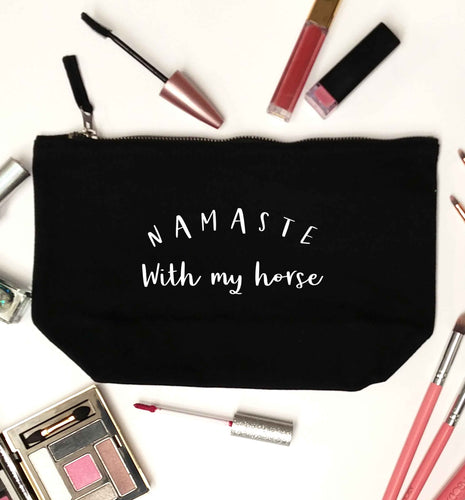Namaste with my horse black makeup bag