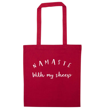Namaste with my sheep red tote bag