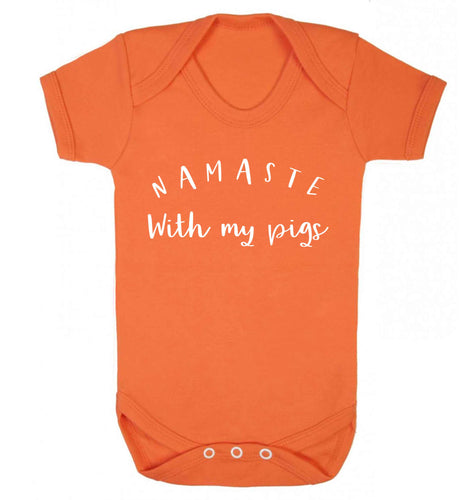 Namaste with my pigs Baby Vest orange 18-24 months