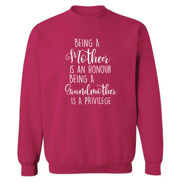 Being a mother is an honour being an grandmother is a privilege Adult's unisex pink Sweater 2XL