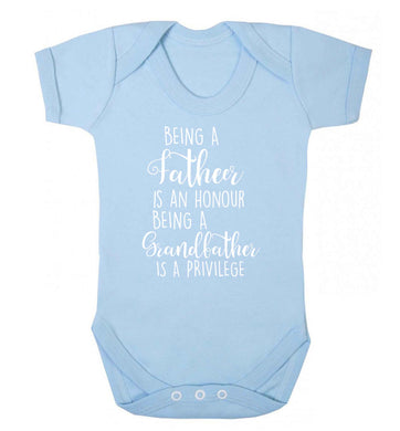 Being a father is an honour being a grandfather is a privilege Baby Vest pale blue 18-24 months