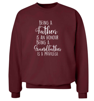 Being a father is an honour being a grandfather is a privilege Adult's unisex maroon Sweater 2XL