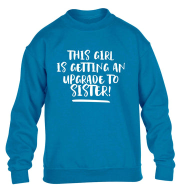 This girl is getting an upgrade to sister! children's blue sweater 12-13 Years