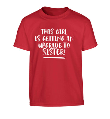 This girl is getting an upgrade to sister! Children's red Tshirt 12-13 Years