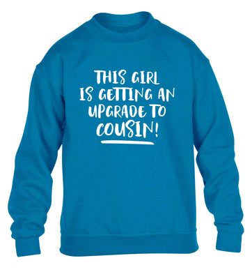 This girl is getting an upgrade to cousin! children's blue sweater 12-13 Years