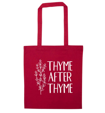 Thyme after thyme red tote bag