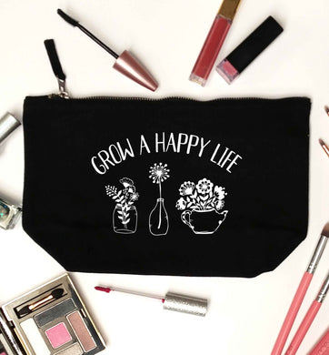 Grow a happy life black makeup bag