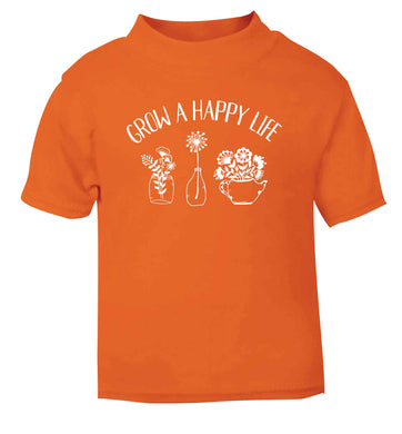 Grow a happy life orange Baby Toddler Tshirt 2 Years