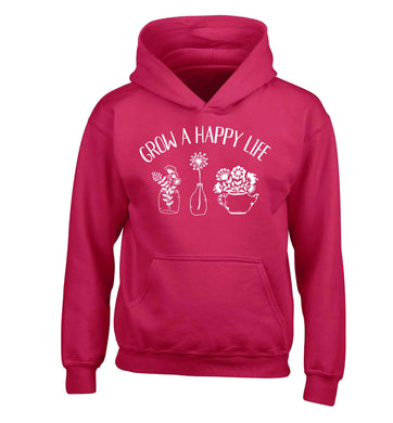 Grow a happy life children's pink hoodie 12-13 Years