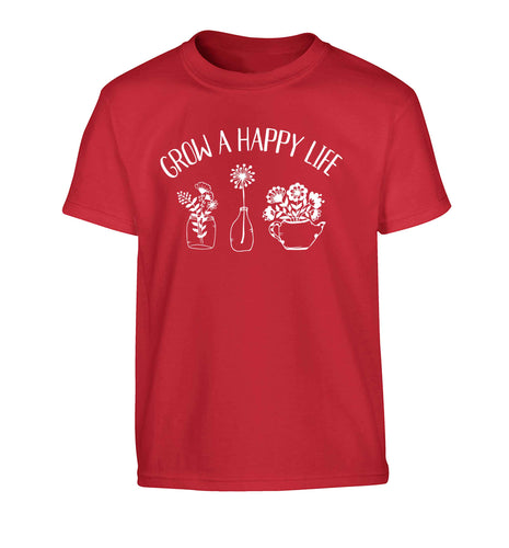 Grow a happy life Children's red Tshirt 12-13 Years
