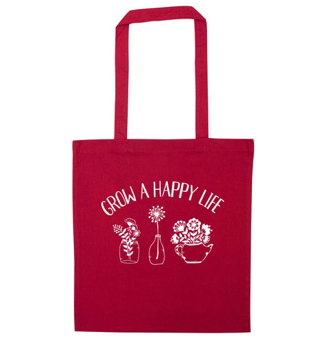 Grow a happy life red tote bag