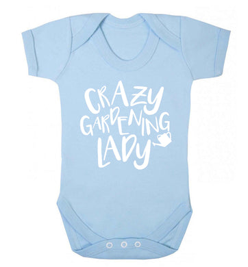 Crazy gardening lady Baby Vest pale blue 18-24 months