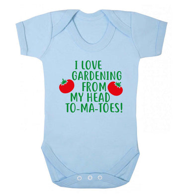 I love gardening from my head to-ma-toes Baby Vest pale blue 18-24 months