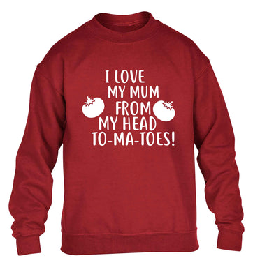 I love my mum from my head to-my-toes! children's grey sweater 12-13 Years