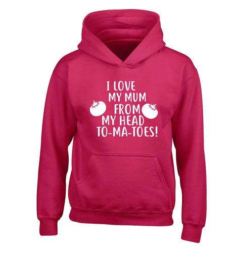 I love my mum from my head to-my-toes! children's pink hoodie 12-13 Years