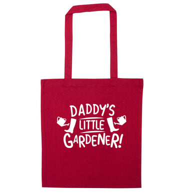 Daddy's little gardener red tote bag