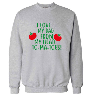 I love my dad from my head to-ma-toes adult's unisex grey sweater 2XL