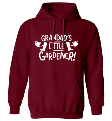 Grandad's little gardener adults unisex maroon hoodie 2XL