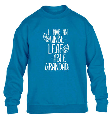 I have an unbe-leaf-able grandad children's blue sweater 12-13 Years