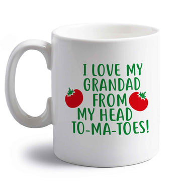 I love my grandad from my head To-Ma-Toes right handed white ceramic mug