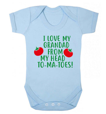 I love my grandad from my head To-Ma-Toes Baby Vest pale blue 18-24 months