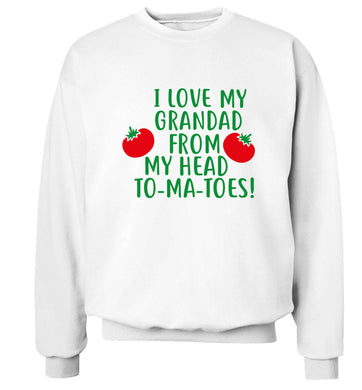 I love my grandad from my head To-Ma-Toes Adult's unisex white Sweater 2XL