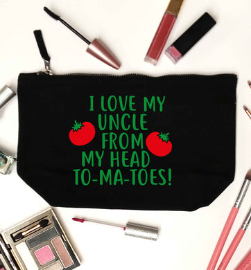 I love my uncle from my head To-Ma-Toes black makeup bag