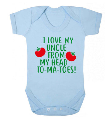 I love my uncle from my head To-Ma-Toes Baby Vest pale blue 18-24 months