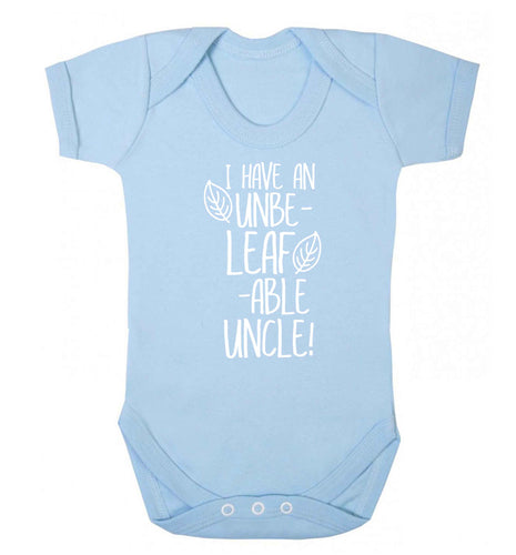 I have an unbe-leaf-able uncle Baby Vest pale blue 18-24 months