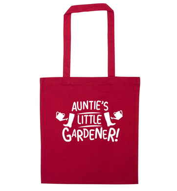 Auntie's little gardener red tote bag