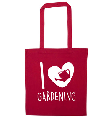 I love gardening red tote bag