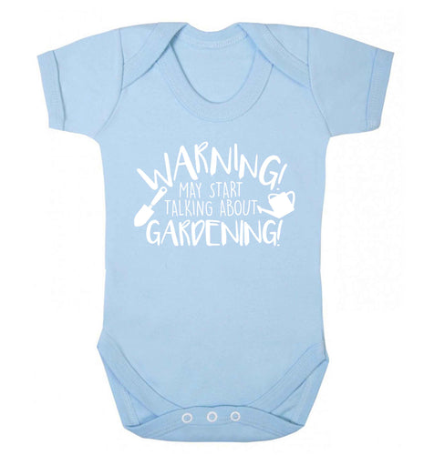 Warning may start talking about gardening Baby Vest pale blue 18-24 months