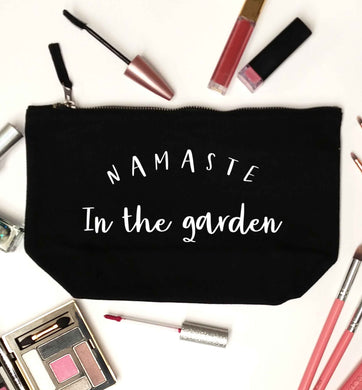 Namaste in the garden black makeup bag