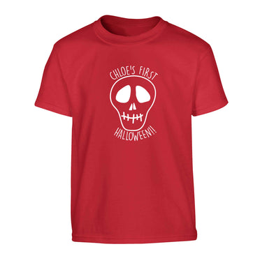 Personalised Skull 1st Halloween Children's red Tshirt 12-13 Years