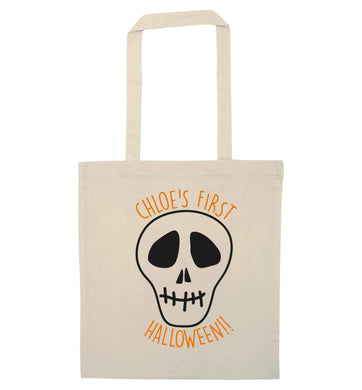Personalised Skull 1st Halloween natural tote bag