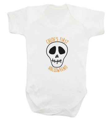 Personalised Skull 1st Halloween baby vest white 18-24 months