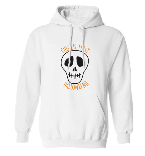 Personalised Skull 1st Halloween adults unisex white hoodie 2XL