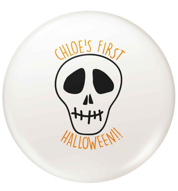 Personalised Skull 1st Halloween small 25mm Pin badge