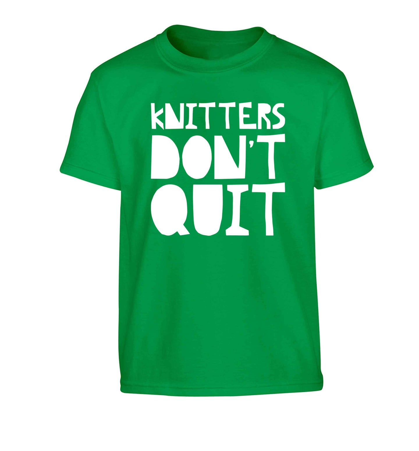 Knitters don't quit Children's green Tshirt 12-13 Years