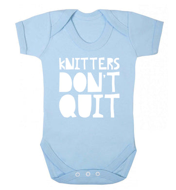 Knitters don't quit Baby Vest pale blue 18-24 months