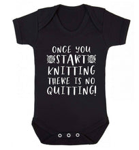 Once you start knitting there is no quitting! Baby Vest black 18-24 months
