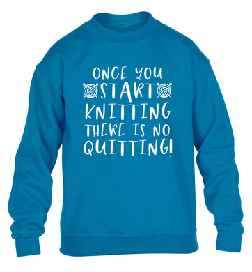 Once you start knitting there is no quitting! children's blue sweater 12-13 Years
