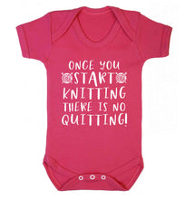 Once you start knitting there is no quitting! Baby Vest dark pink 18-24 months