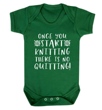 Once you start knitting there is no quitting! Baby Vest green 18-24 months